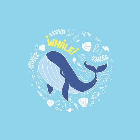 illustrators: whale blue color