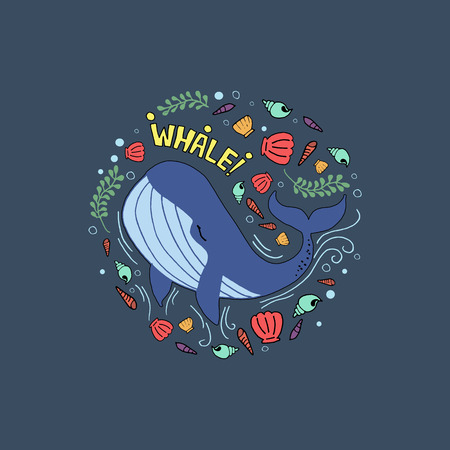 whale colorful Иллюстрация