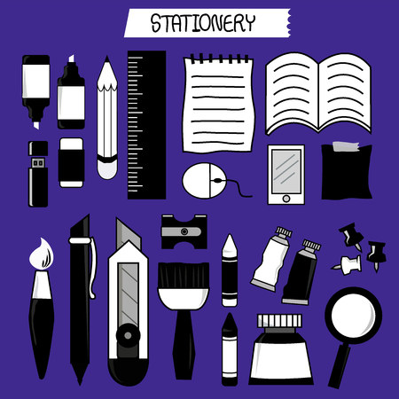 stationary black color Иллюстрация