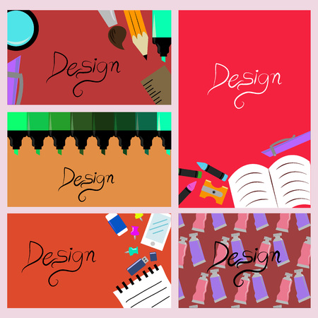template stationary set colorful Иллюстрация