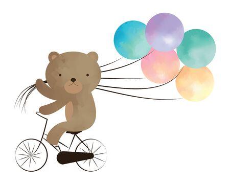 balloons teddy bear: Teddy bear riding a bike with balloons