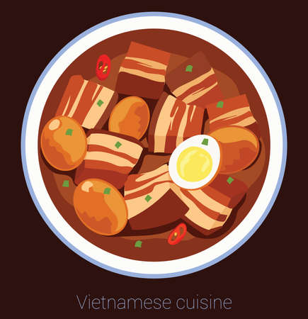 Vietnamese cuisine with pork and eggs Ilustracja