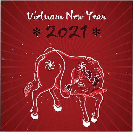 Vietnamese new year with buffalo vector