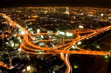 bangkok night: Express highway in the heart of Bangkok