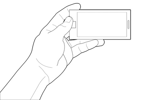 talk to the hand: Mobile phone in the hand isolated on white  Illustration