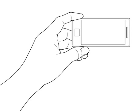 Mobile phone in the hand isolated on white Illustration