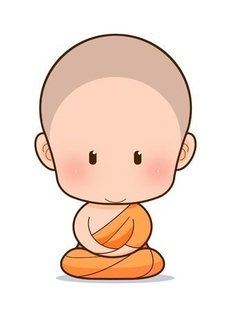 man meditating: Buddhist Monk cartoon