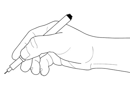 Hands with pen over paper isolated on white background Stock Vector - 16651752