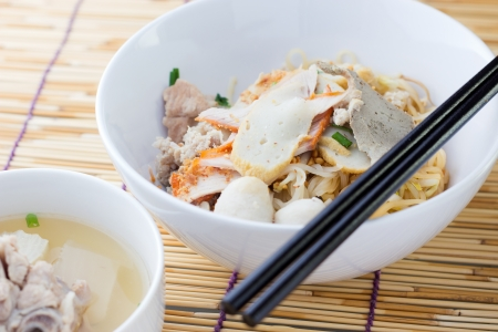 chinese noodle: Noodles and meatball with chopsticks , asian noodle