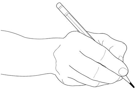 hand holding card: Handen met potlood