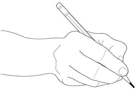 hand holding paper: Hands with pencil