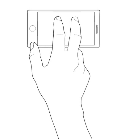 dialing: Cell phone and hand Illustration