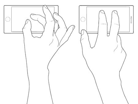ring finger: Cell phone and hand Illustration