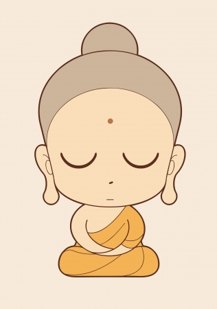 chinese buddha: Buddhist Monk cartoon  Illustration