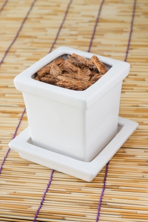 Flower pot with the soil photo