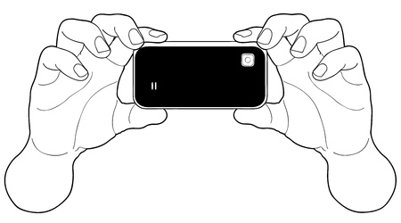 grabbing: A man is holding a black cameraphone shot over white background