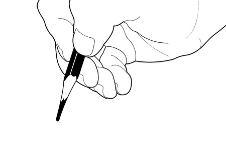 groin: Vector illustration of a hand writing