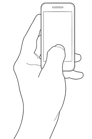 touchline: Mobile phone in the hand isolated on white Illustration