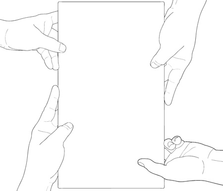 Hand holding blank paper isolated on white background Stock Vector - 19224544
