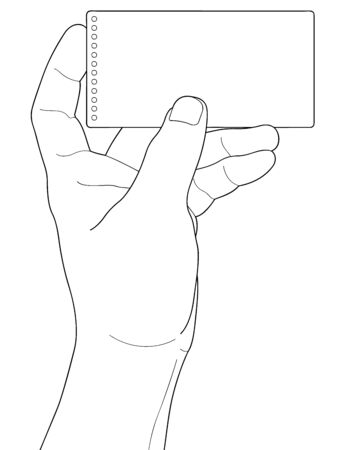 Hand holding blank paper isolated on white background Stock Vector - 19221154