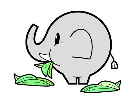 Elephant eating green grass Vector