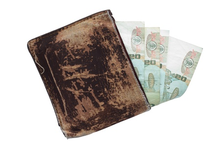 Brown wallet with Thai Paper Currency on the white background photo