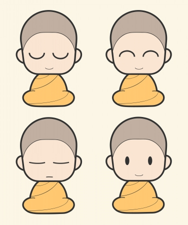 meditation man: Buddhist Monk cartoon