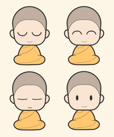 Monje budista de dibujos animados Ilustración de vector