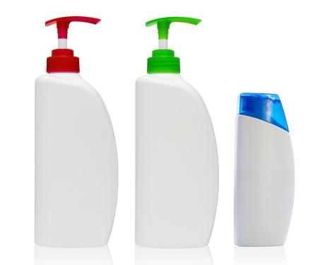 White shampoo bottle  Isolated on white background  Stock Photo