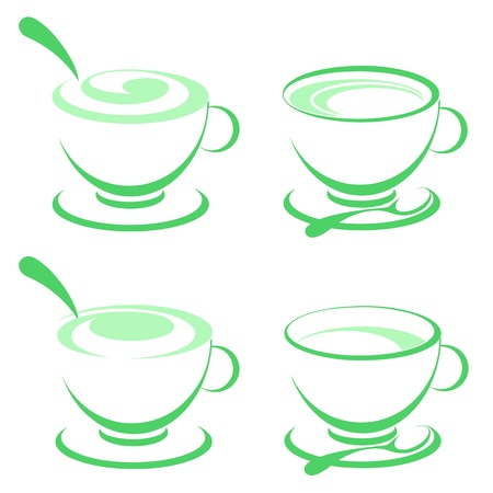 Abstract cup and a leaf of green tea. Illustration