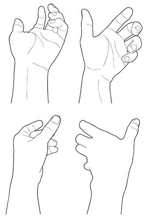 visz: felnőtt férfi kezét, hogy tartsa valami, elszigetelt, fehér Illusztráció
