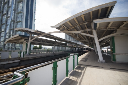 BTS Skytrain at a station on Sukhumvit Road
