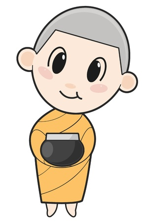 liberate:  hand-drawn cartoon character happy buddhist monk for religion Illustration