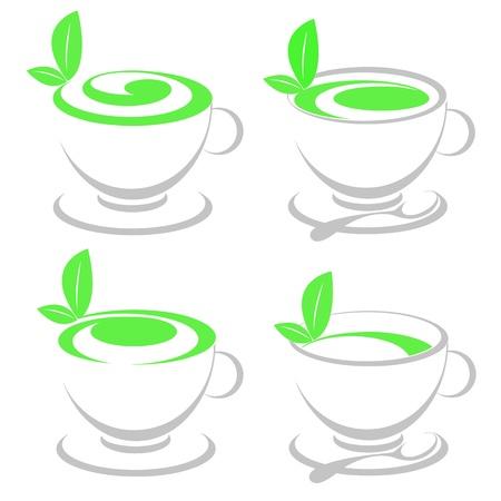 Tazza astratta e una foglia di tè verde