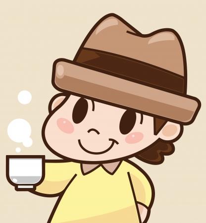 Boy drinks coffee  Cartoon illustration Stock Vector - 20141341
