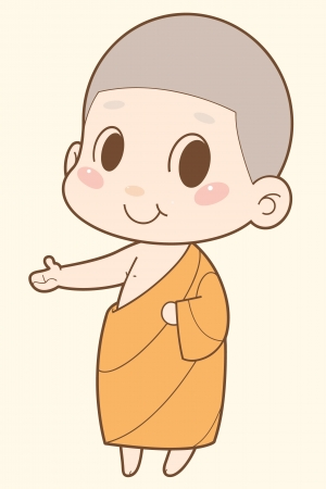 thai women: Buddhist Monk cartoon