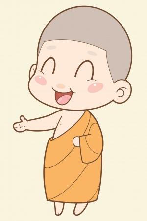 monjes: Monje budista de dibujos animados