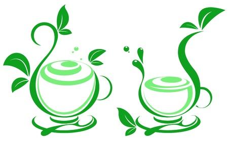 silueta: Fresh tea and green leaves Illustration