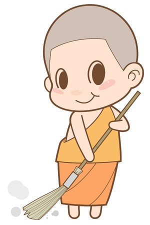 buddha tranquil: Monk sweeping the floor