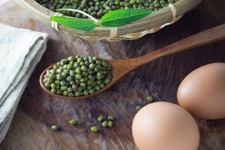 Mung beans on spoon photo