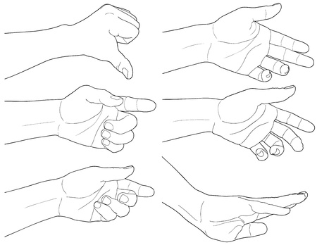 Uomo adulto mano per tenere qualcosa, isolated on white