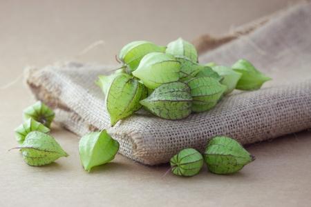 solanaceae: Ground cherry on sackcloth Stock Photo