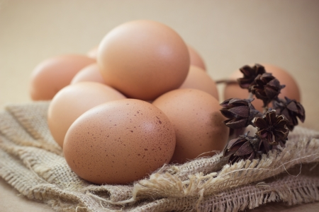 Eggs in a sackcloth Stock Photo