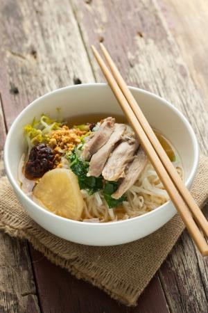 instant noodle: Chicken Noodle Soup Recipe Stock Photo