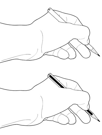 hand holding paper: Man hand with pencil on a white background