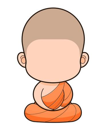 buddhist monk: Buddhist Monk cartoon, No face Stock Photo