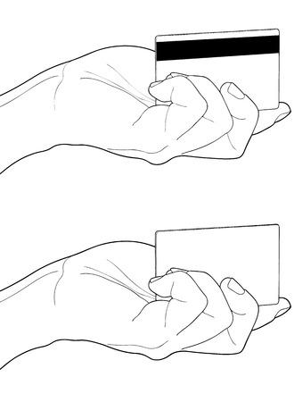 tarjeta visa: La mano masculina que muestra la tarjeta de crédito