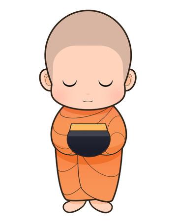 Bieden voedsel aan monnik op de vroege ochtend, Boeddhistische Monnik cartoon Stockfoto