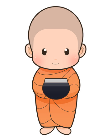 alms: Buddhist Monk holding alms bowl Stock Photo