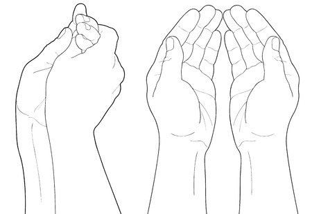nudge: Adult man hand to hold something, isolated on white Illustration